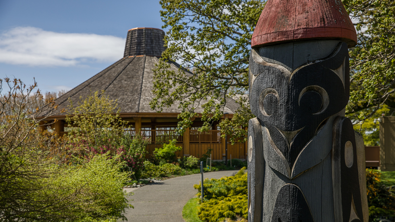 Natsamaht Indigenous place and Totem pole on campus