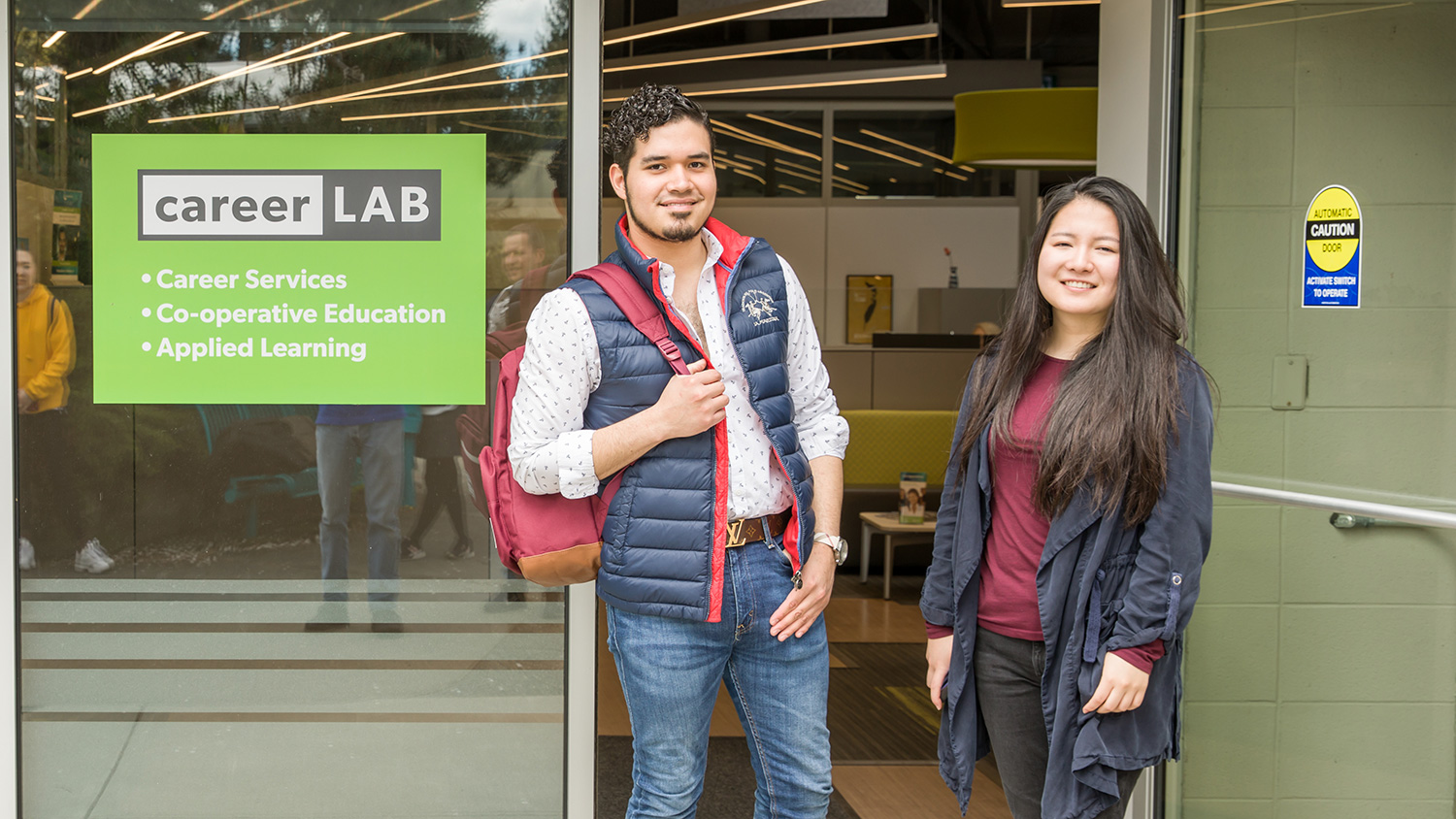 Students standing out in front of the career lab co-op center