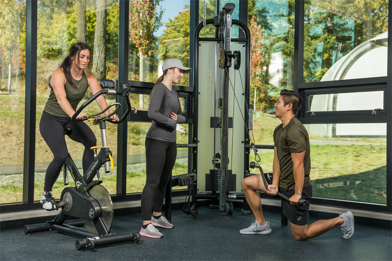 Three students working out
