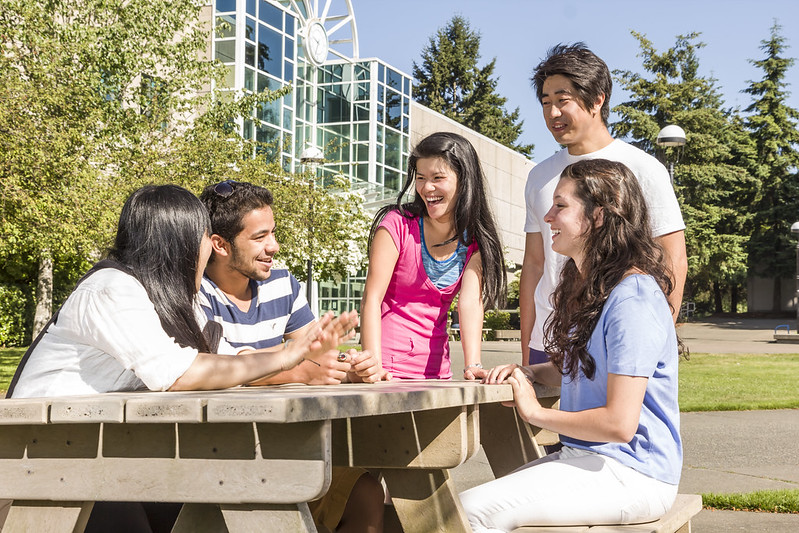students outside at picnic table
